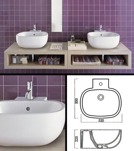 Vasque sur meuble de salle de bain con u pour une installation sur plan de travail Salle de bain avec plan de travail