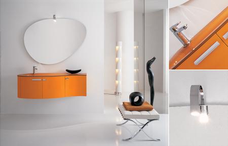 Meubles sous vasque contemporain suspension murale - Meuble salle de bain orange ...