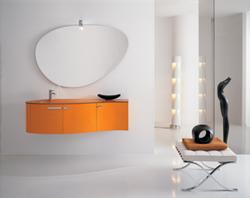 Meubles de salles de bains suspension murale et fixation murale - Meuble salle de bain orange ...