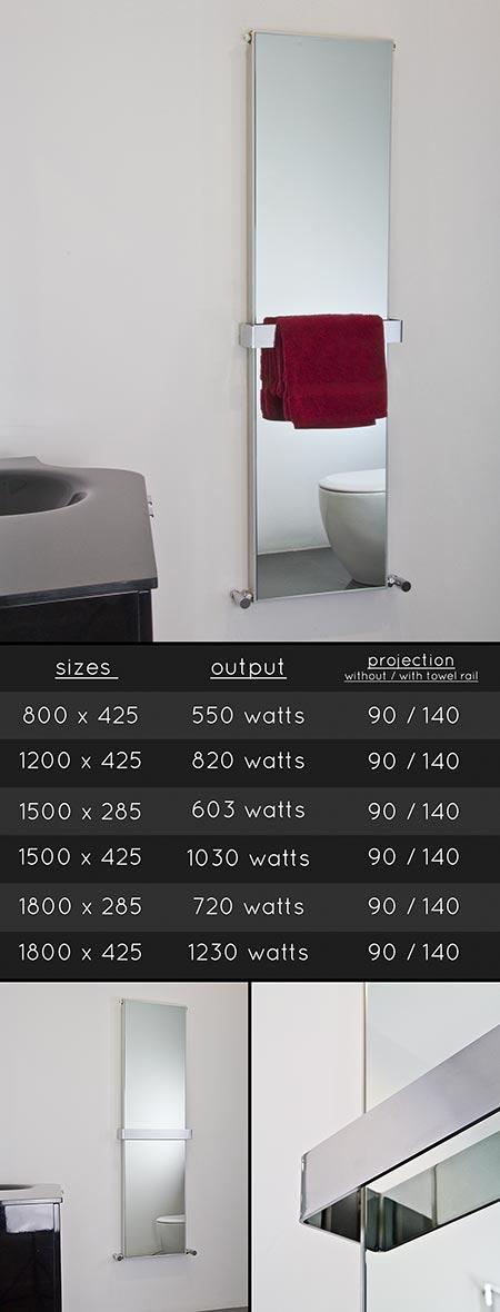 radiateur chauffant miroir pour salles de bain. Black Bedroom Furniture Sets. Home Design Ideas