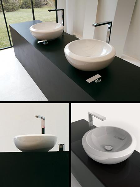 Vasques sur meubles de salles de bains lavabos sur plan - Vasque sur plan de travail salle de bain ...