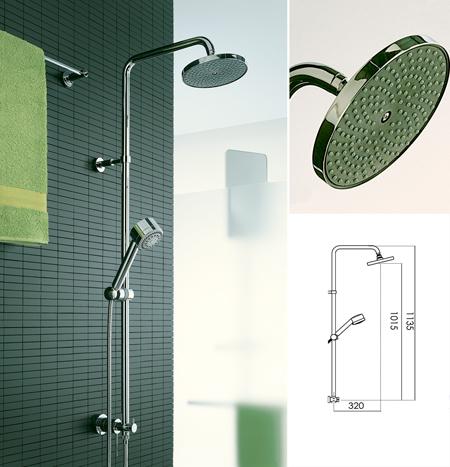 Colonne de douche contemporaine avec une pomme de douche fixe et une pomme r glable en hauteur for Pomme de douche