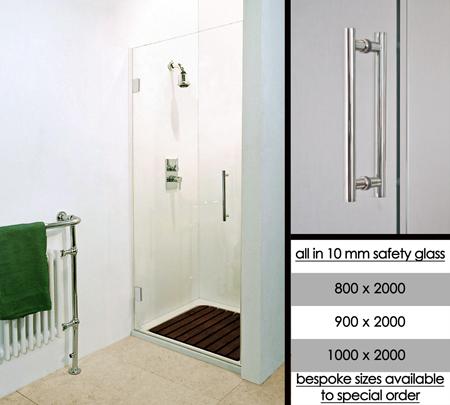 Portes de douches sans cadre en en 800mm 900mm et 1000mm for Portes de douche