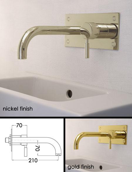 Robinetterie de lavabo murale finie en nickel for Robinetterie murale lavabo