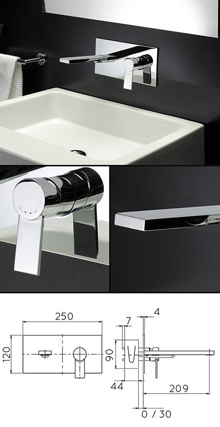 mitigeur de lavabo de salle de bains mural loft - Robinet Mitigeur Mural Salle De Bain