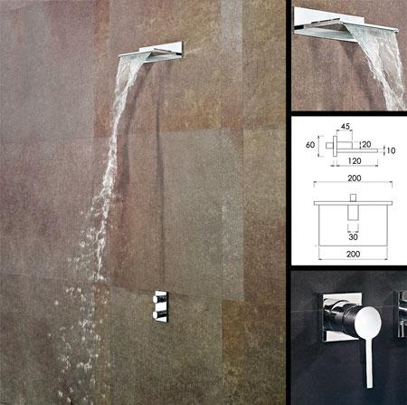 pomme de douche cascade avec lame d 39 eau fixe livinghouse. Black Bedroom Furniture Sets. Home Design Ideas