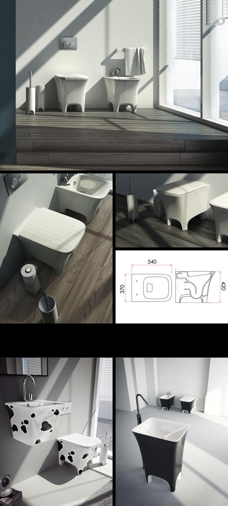 Toilette dos au mur collection vache confortable 100e - Toilette au mur ...