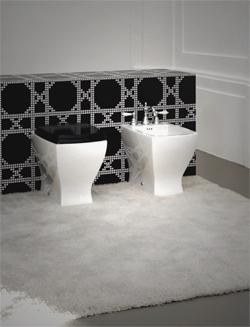 Collection d 39 ameublement de salle de bain design de lavabos toilettes - Deco wc zwart ...
